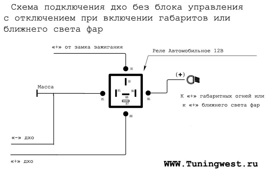 Схема подключения света фар через реле фото 464