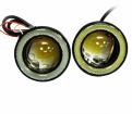Противотуманные фары универсальные светодиодные 76 мм с ангельскими глазками