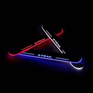 Накладки на пороги с подсветкой для Ниссан Х-Трейл / Nissan X-Trail 2014-2016