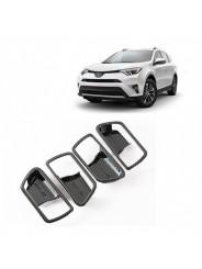 Накладки под карбон Тойота РАВ 4 / Toyota RAV 4 2016-2019 вокруг ручек дверей