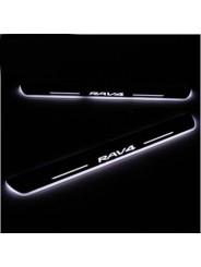 Накладки на пороги с подсветкой для Toyota Rav 4 / Тойота Рав 4 2013-2016