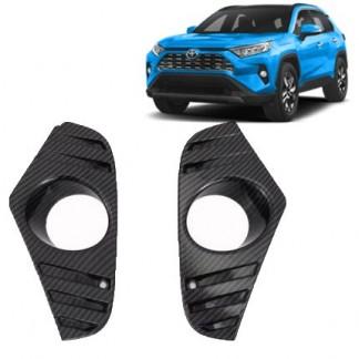 Накладка под карбон на передний бампер Toyota RAV 4 / Тойота РАВ 4 2019-2020