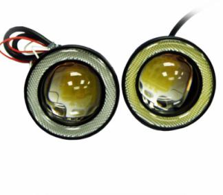 Противотуманные фары универсальные светодиодные 89 мм с ангельскими глазками