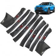 Накладки на пороги для тюнинга Тойота Рав 4 / Toyota Rav 4 XA50 2019-2021 Черный титан