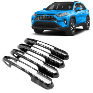 Накладки под карбон на ручки дверей Тойота РАВ4 / Toyota RAV4 2019-2020