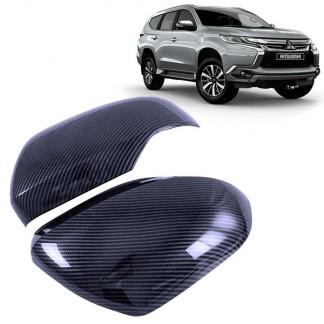 Накладки на зеркала Митсубиси Паджеро Спорт 3 / Mitsubishi Pajero Sport 2016-2021 карбон