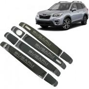 Накладки под карбон на ручки дверей Субару Форестер / Subaru Forester S5 2018-2019
