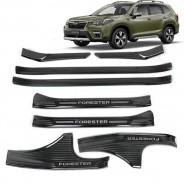 """Накладки на пороги """"Черный титан"""" Субару Форестер / Subaru Forester S5 2018-2019ки на пороги """"Черный титан"""" Субару Forester / Subaru Forester 2013-2018"""