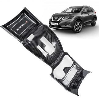 Накладка под карбон Ниссан Х-Трейл / Nissan X-Trail 2018-2019 на центральную консоль