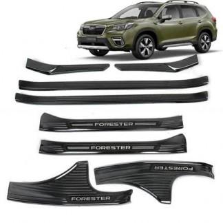 """Накладки на пороги Субару Форестер / Subaru Forester S5 2018-2019ки на пороги """"Черный титан"""" Субару Forester / Subaru Forester 2013-2018"""
