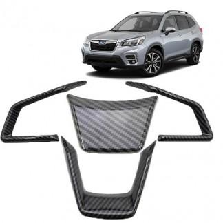 Накладки рулевого колеса для Subaru Forester / Субару Форестер 2018-2019 карбон