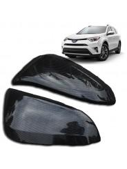 Накладки зеркал под карбон Тойота РАВ 4 / Toyota RAV 4 2014-2019